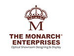 optical showroom designing & display the monarch logo